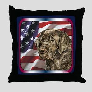Labrador Retriever Patriotic USA Flag Throw Pillow