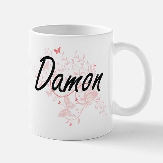Damon surname artistic design with Butterflie Mugs