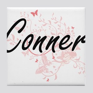 Conner surname artistic design with B Tile Coaster