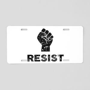 Resist Fist Distressed Aluminum License Plate