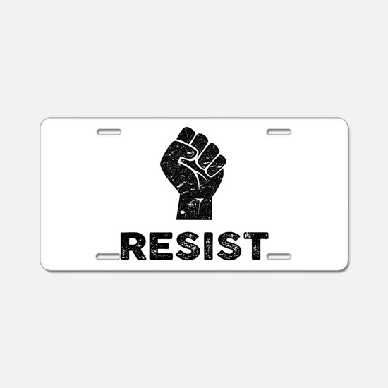 Resist Fist Distressed Aluminum License Plate