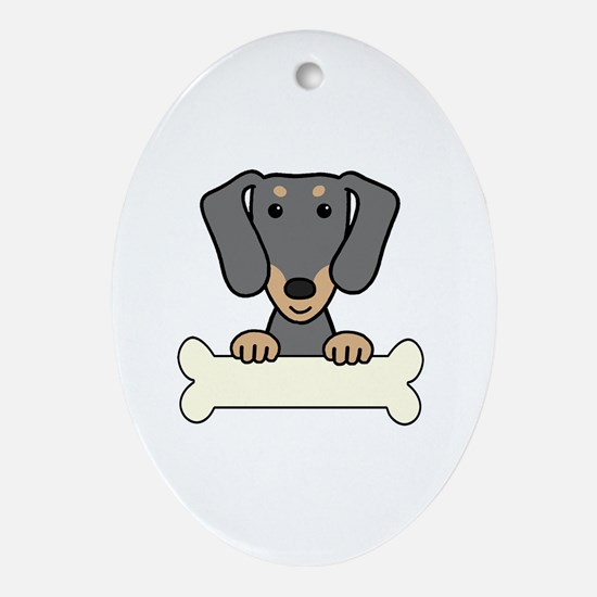 Cute Black and tan dachshund Oval Ornament
