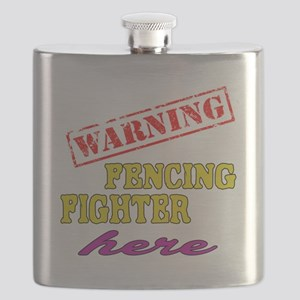 Warning Fencing Fighter Here Flask