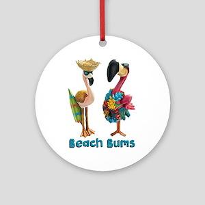 Flamingo Beach Bums Round Ornament