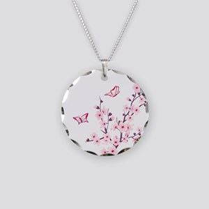 Cherry Blossom with Butterfl Necklace Circle Charm