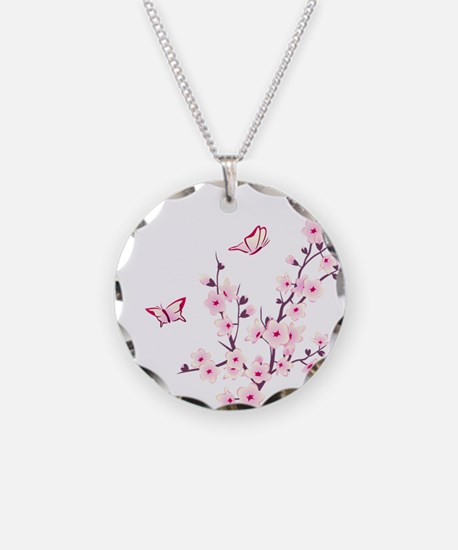 Cherry Blossom with Butterfl Necklace