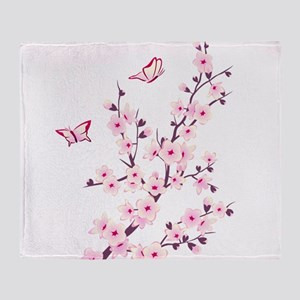 Cherry Blossom with Butterfly Throw Blanket