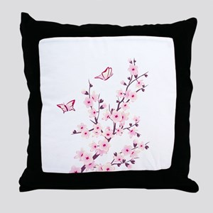 Cherry Blossom with Butterfly Throw Pillow