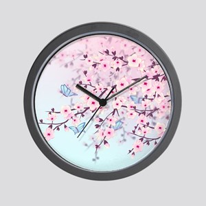Cherry Blossom with Butterfly Wall Clock