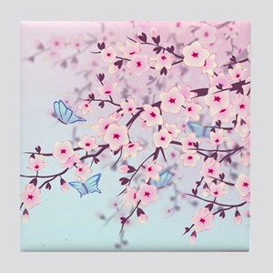 Cherry Blossom with Butterfly Tile Coaster