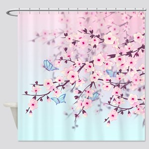 Cherry Blossom with Butterfly Shower Curtain