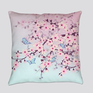 Cherry Blossom with Butterfly Everyday Pillow