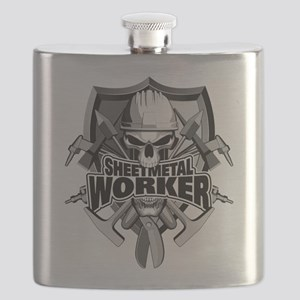 Sheetmetal Worker Skull Flask