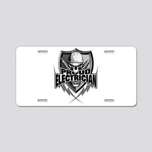 Proud Electrician Skull Aluminum License Plate