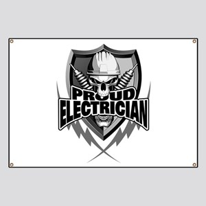 Proud Electrician Skull Banner