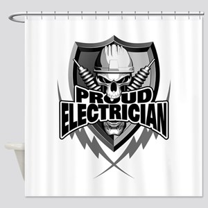 Proud Electrician Skull Shower Curtain