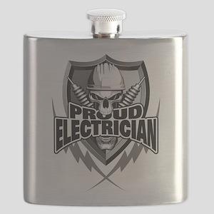 Proud Electrician Skull Flask