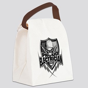 Proud Electrician Skull Canvas Lunch Bag