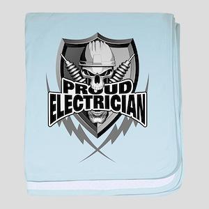 Proud Electrician Skull baby blanket