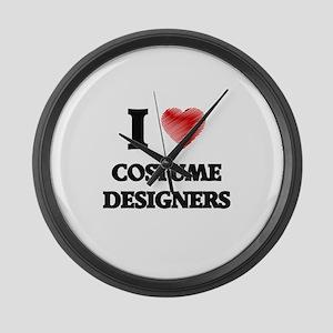 I love Costume Designers (Heart m Large Wall Clock