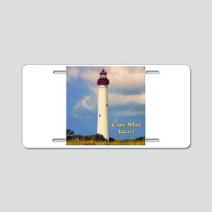 Cape May Light Watercolor Aluminum License Plate