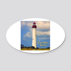 Cape May Light Watercolor Oval Car Magnet