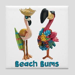 Flamingo Beach Bums Tile Coaster