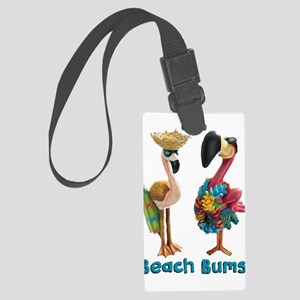 Flamingo Beach Bums Large Luggage Tag