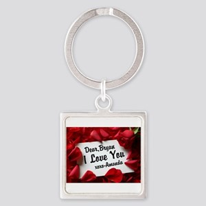 Personalize red rose Keychains