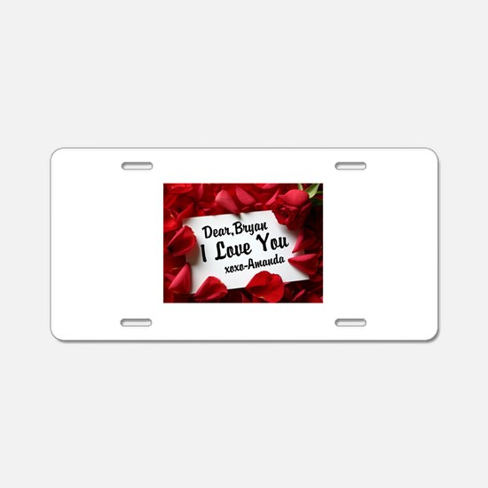 Personalize red rose Aluminum License Plate