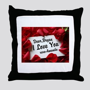 Personalize red rose Throw Pillow