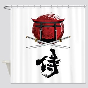 Samurai Katana Kanji and Tori Gate Shower Curtain