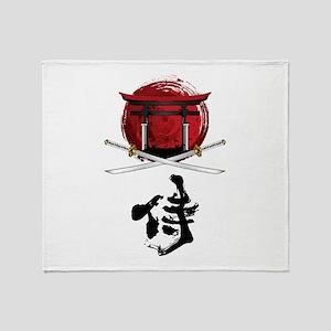 Samurai Katana Kanji and Tori Gate Throw Blanket