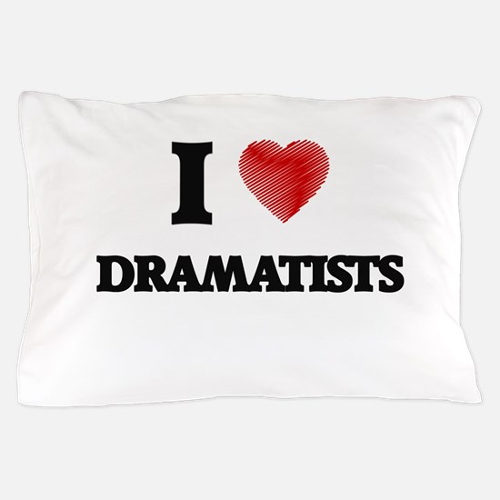 I love Dramatists (Heart made from wor Pillow Case