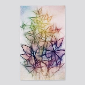 Colorful Butterfly Drawing Area Rug