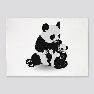 Panda & Baby Panda 5'x7'Area Rug