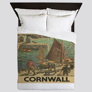 Vintage poster - Cornwall Queen Duvet