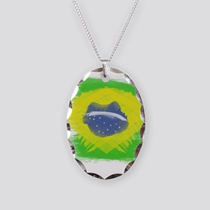 Brazil Flag Brasilian Rio Necklace Oval Charm