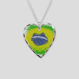 Brazil Flag Brasilian Rio Necklace Heart Charm
