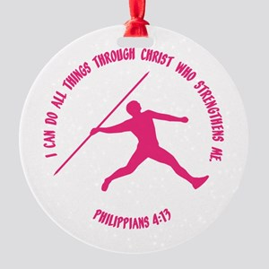 JAVELIN, PHIL.4:13 Round Ornament