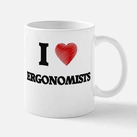 I love Ergonomists (Heart made from words) Mugs