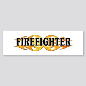 Firefighter Double Flames Bumper Sticker
