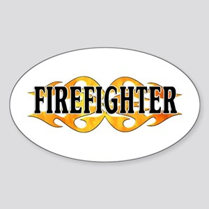 Firefighter Double Flames Oval Sticker