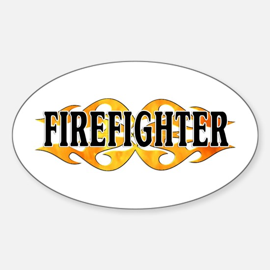 Firefighter Double Flames Oval Decal