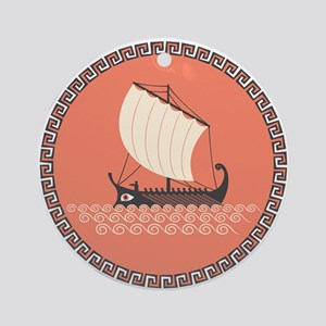Ancient Ship Round Ornament