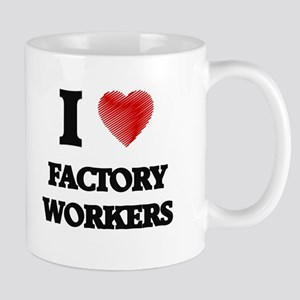 I love Factory Workers (Heart made from words Mugs