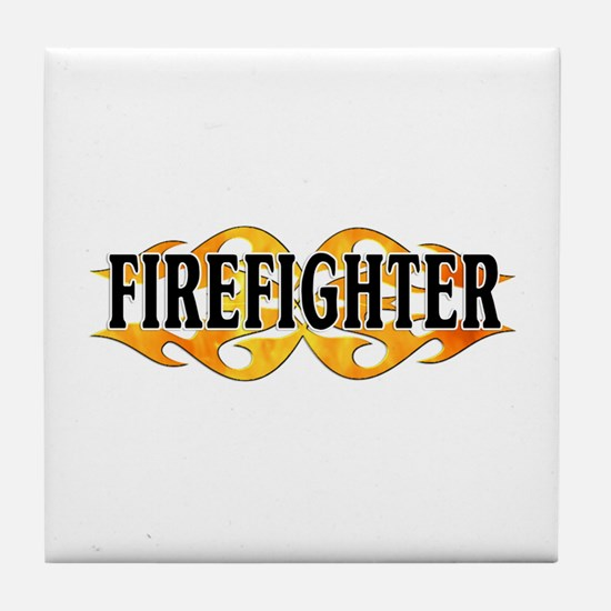 Firefighter Double Flames Tile Coaster