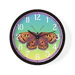 Checkerspot Butterfly Wall Clock