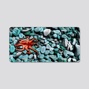 Octopus Pebbles Blue Aluminum License Plate