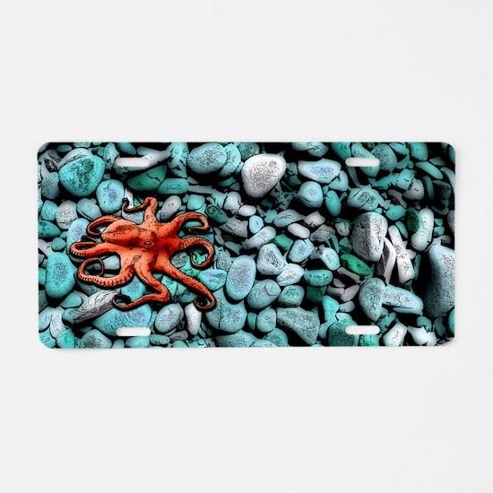 Octopus Pebbles Blue Aluminum License Plate